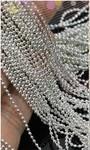 Бисер-бусы для дизайна ногтей, 1 метр. Цвет: серебро