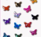 Украшение для дизайна - тканевые бабочки 3мм, 100 шт. Цвет: бирюза голографик