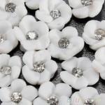 Украшение - роза керамика со стразой. Цвет белый