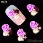Украшение - роза пластик со стразами и жемчугом